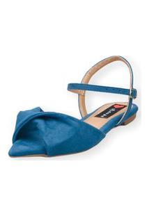 Sandália Rasteira Love Shoes Bico Folha Nó Torcido Azul