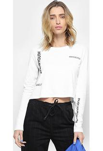 Camiseta Cropped Calvin Klein Hashtag Manga Longa - Feminino
