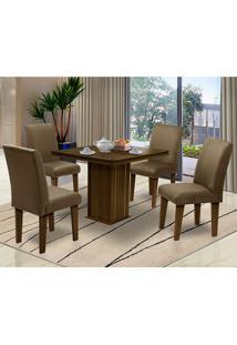 Mesa Para Sala De Jantar Com 4 Cadeiras Saint Thomas – Dobuê Movelaria - Castanho-Rt / Castor