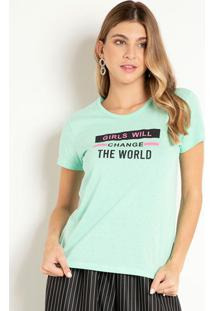 Blusa Verde Menta Com Estampa Frontal