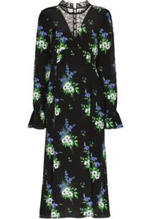 Les Rêveries Vestido Com Estampa Daffodil - Preto