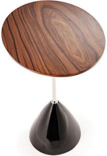 Mesa Lateral Elipse Oval Aço Inox E Madeira Clássica Design By Roberto Amadio