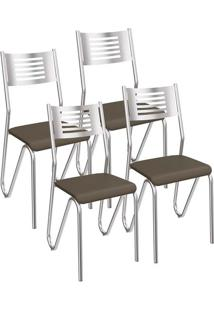 Kit 4 Cadeiras Nápoles Cromada Kappesberg 4C045 Marrom