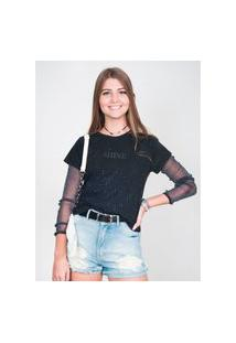 T-Shirt Feminina Com Strass Preta
