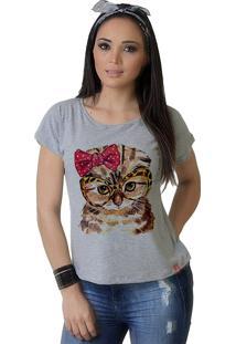 Camiseta Wevans Gato Fashion Mescla