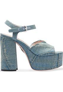 Miu Miu Sandália Jeans Plataforma - Azul