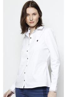 Camisa Com Pespontos - Branca & Vermelhascalon