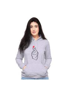 Blusa Moletom Feminino Cinza Coração