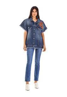 Colete Amplo Detalhe Patch Jeans - M