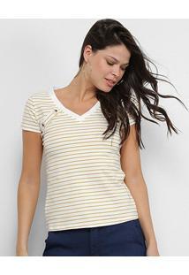 Camiseta Adooro! Listrada Botões Feminina - Feminino-Branco+Amarelo