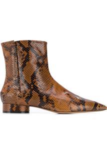 Maison Margiela Ankle Boot Com Pesponto - Marrom