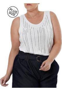 Blusa Regata Autentique Plus Size Feminina - Feminino-Branco