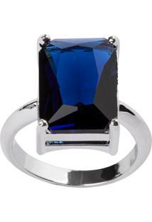 Anel The Ring Boutique Retangular Cristal Azul Safira Ródio Ouro Branco