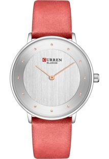 Relógio Curren Analógico C9033L Prata E Vermelho