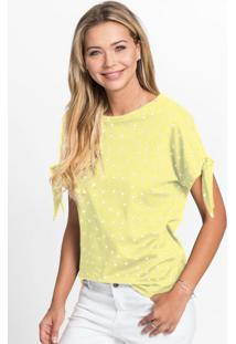 Blusa Decote Redondo Com Amarração Poá Amarelo