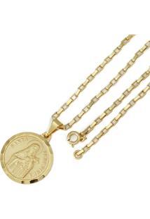 Pingente Santa Teresinha Com Corrente Tudo Jóias Modelo Francesa Dourada