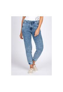 Calça Jogger Jeans Bloom Moletom Elástico Barra Azul Claro Acid Wash