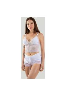 Short Doll Sexy Pijama Curto Com Renda Linha Noite Branco