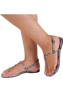 Sandália Rasteira Mercedita Shoes Animal Print Snake Cinza