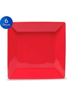 Conjunto De Pratos Rasos 6 Peças Quartier Red - Oxford Vermelho