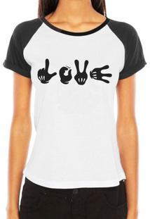 Camiseta Criativa Urbana Raglan Engraçadas Mãos Hands Love - Feminino-Branco
