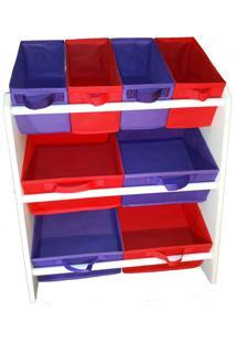 Organizador Organibox De Brinquedo Vermelho E Violeta Limão Médio