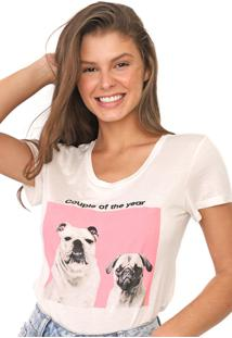 Camiseta Polo Wear Reta Couple Of The Year Off-White - Off White - Feminino - Viscose - Dafiti