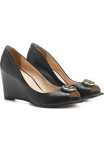 Peep Toe Couro Shoestock Anabela Medalha - Feminino-Preto