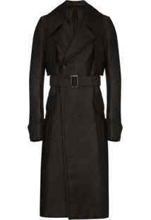 Rick Owens Double-Breasted Trench Coat - Preto