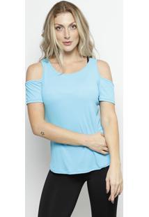 Blusa Lisa Com Recortes - Azul Claro - Patrapatra