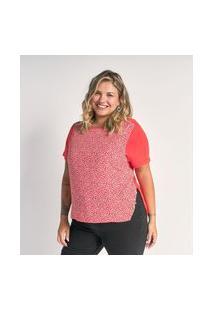 Blusa Em Viscose Com Estampa Floral E Fenda Lateral Curve & Plus Size | Ashua Curve E Plus Size | Rosa | Gg