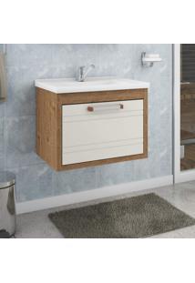 Gabinete Para Banheiro Jade Mgm Móveis Amêndoa/Off White