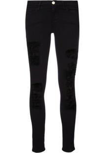 Frame Calça Jeans Skinny Rasgada - Preto