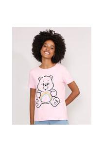 Camiseta Ursinhos Carinhoso Manga Curta Decote Redondo Rosa Claro