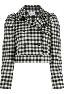 Redvalentino Gingham-Check Cropped Jacket - Preto