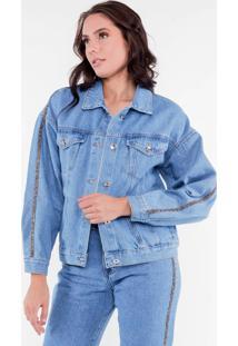Jaqueta Jeans Strass Pop Me - Azul - Feminino - Dafiti