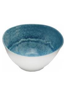 Saladeira Bon Gourmet Melamina Aqua 25 Cm X 13 Cm Branco/Azul
