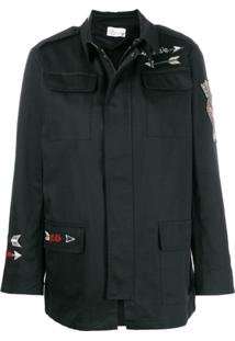 Red Valentino Embroidered Military Jacket - Preto
