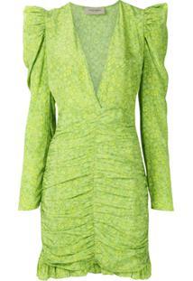 Adriana Degreas Vestido Curto De Seda Estampado - Verde