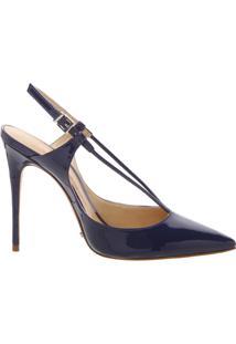 Scarpin Thin Strap Verniz Dress Blue | Schutz