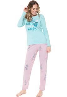 Pijama Malwee Liberta Be Happy Rosa/Azul