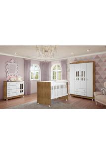Dormitório Guarda Roupa Ariel 4 Portas Fraldário Berço Gabi Amadeirado Carolina Baby