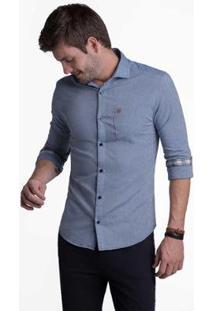 Camisa Buckman Casual Masculina - Masculino-Azul