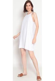 Vestido Liso Com Vazado- Branco- Heringhering