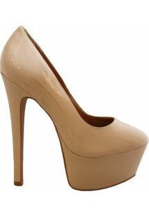 Scarpin Bico Redondo High Heels Lisbella - Feminino-Creme