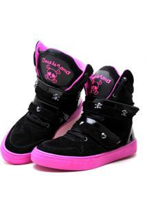 Tênis Sneacker Cheia De Marra Bota Fitness Preta/Rosa