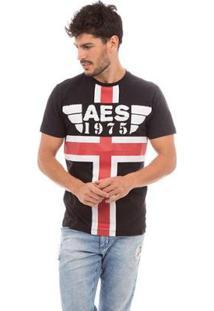 Camiseta Aes 1975 Red And White Stripes Masculina - Masculino-Preto