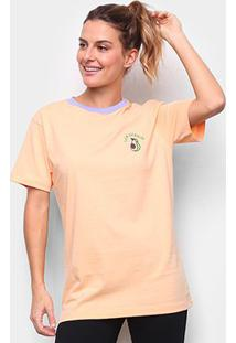 Camiseta New Era Fruit Avocado Los Angeles Feminina - Feminino-Laranja
