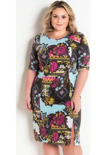 4f2a4a9485 Vestido Etnico Plus Size feminino
