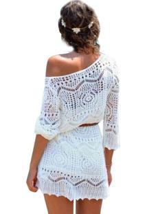 Vestido De Renda Crochê Branco